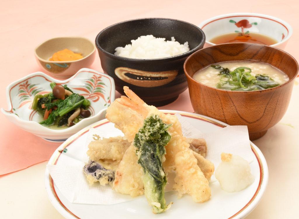 春野菜と海老の天ぷら定食