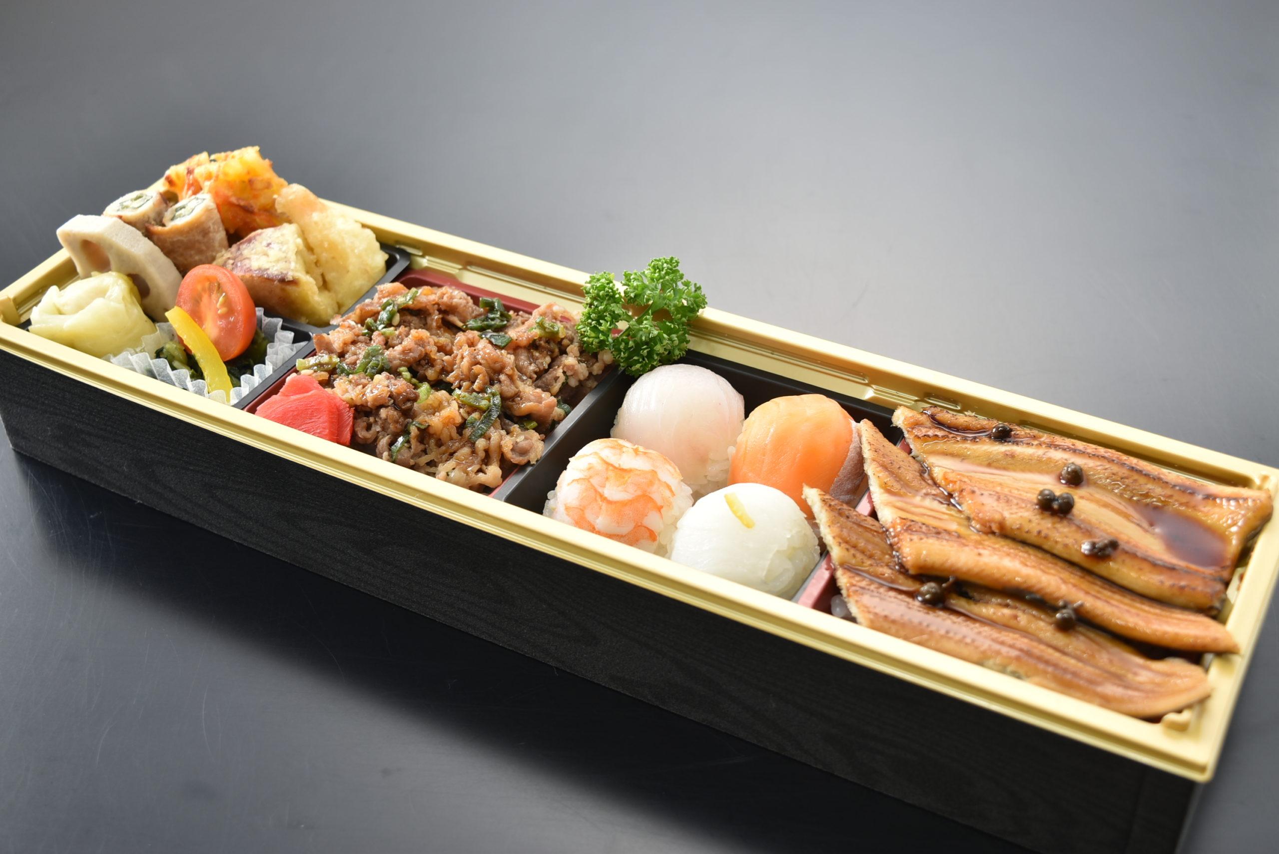 牛・穴子飯と手毬寿司弁当